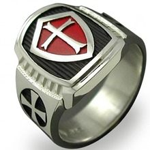 Size 7-15 Stainless Steel Red Armor Shield Knight Templar Crusade Cross Ring