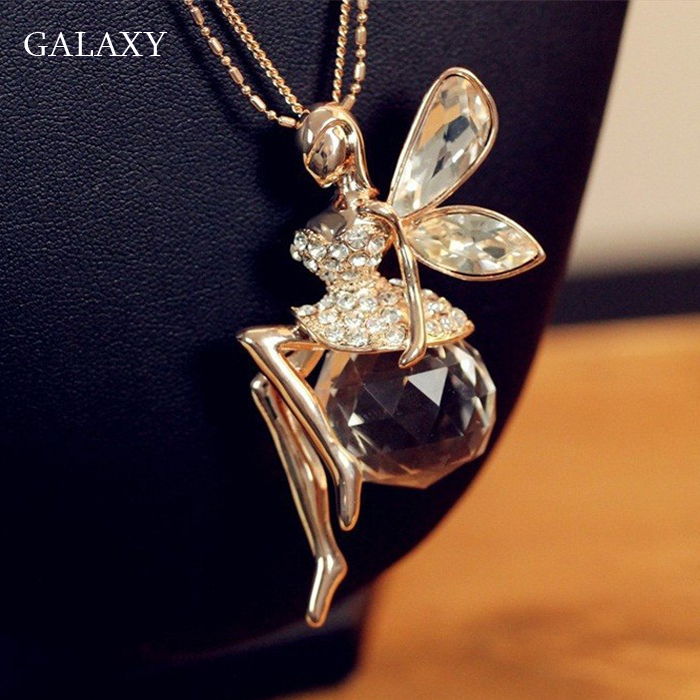 GALAXY Latest Fashion Delicate Angel Crystal Ball Pendant Long Chain Necklace Women's Trendy Sweater Decoration Accessory YN220(China (Mainland))