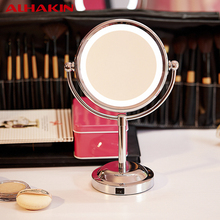 ALHAKIN 6 Inch Led Cosmetic Mirror with Light 1/3X Stainless Steel 3 pcs AA Battery Makeup Mirror with Light Table Stand Mirror(China (Mainland))