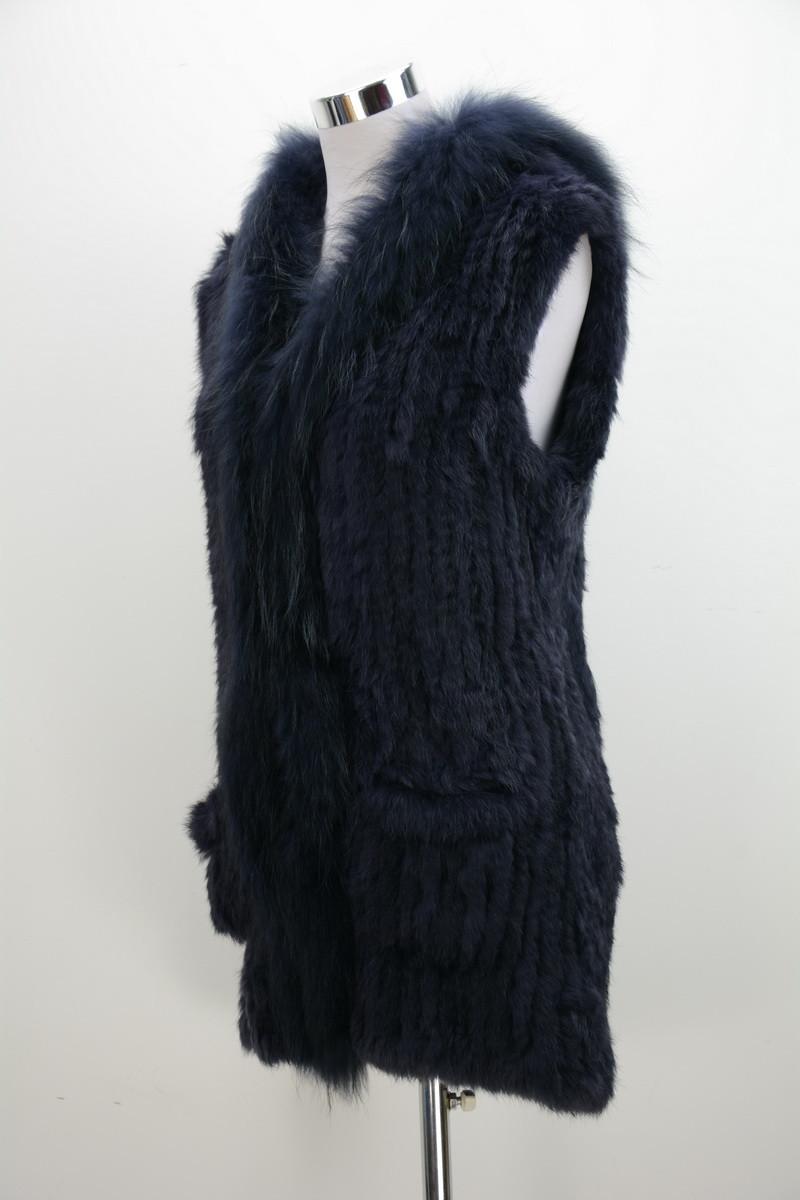 2016 Lady Real fur vest Women Genuine Rabbit fur knitted gilet raccoon collar hooded pocket winter warm long jacket Top S1498