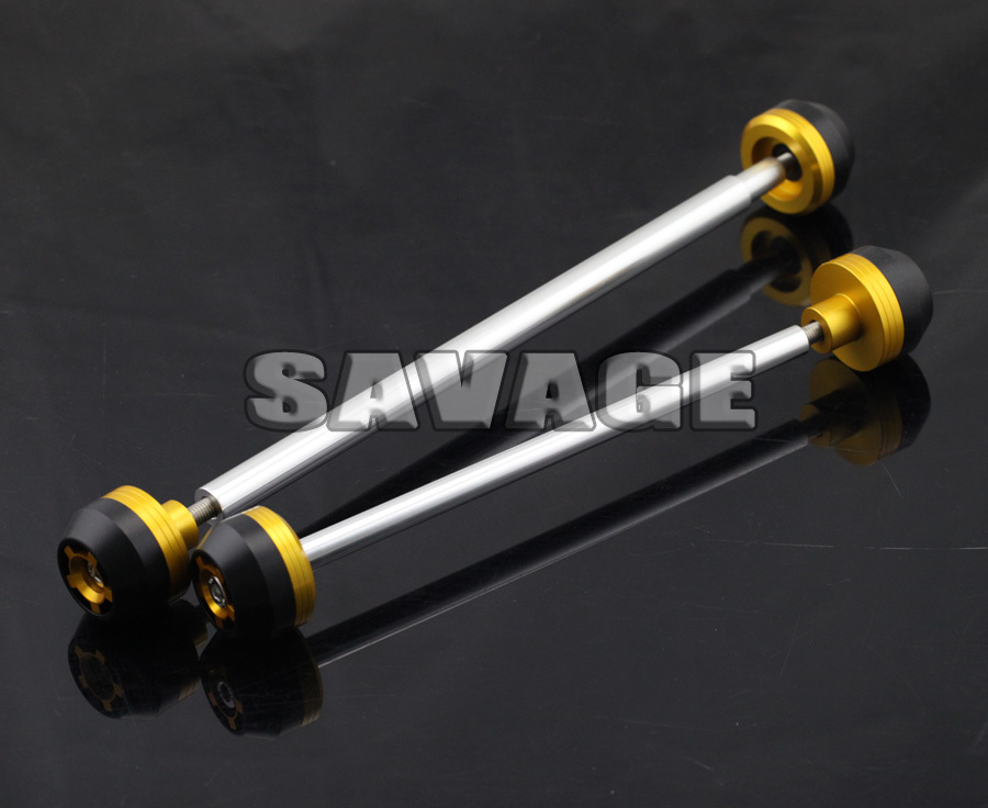 For BMW F800R 2009-2014 Gold CNC Aluminum Front & Rear Axle Fork Crash Sliders Wheel Protector