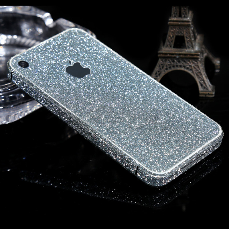 Ultrathin Scrub Bling Sticker Case Glitter Decal Phone Cover Carcasa Gold Pink Coque Fundas Capa Para For Apple iPhone 4S 4(China (Mainland))