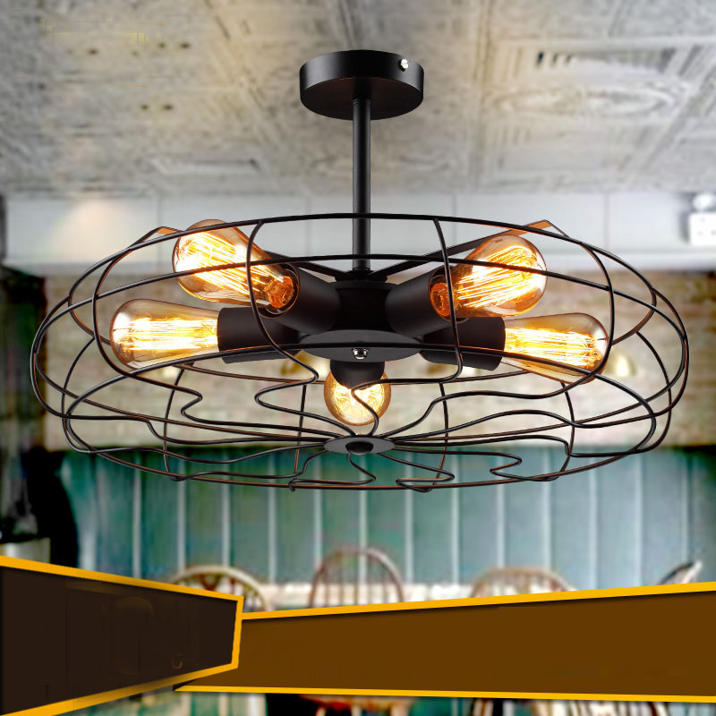 Loft rh american personality vintage electric fan ceiling lighting(China (Mainland))