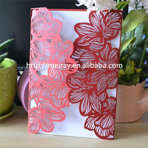 "fancy design hot sale new products! ""big flowers"" laser cut red wedding invitation cards 2015(China (Mainland))"