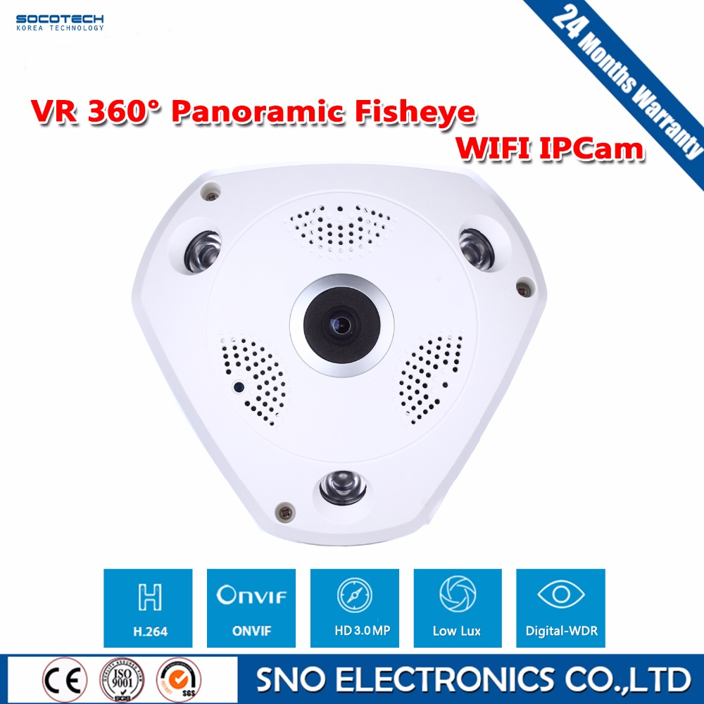 SOCOTECH 3.0MP 360 Degree Fisheye Panoramic Wifi Wireless P2P Network IP Camera Array Led Home Security System For IOS Android(China (Mainland))