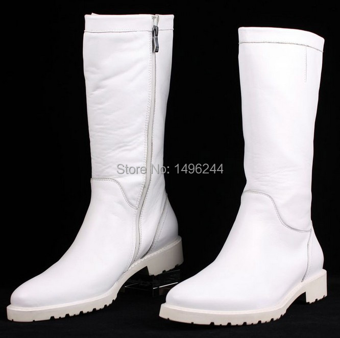 Mens White Leather Boots