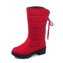 Elegante de Las Mujeres de Mitad de la Pantorrilla Botas de Nieve Punta Redonda Zapatos de Tacones Cuadrados Botas Negro Rojo Gris Caliente Mujer EE. UU. Tamaño 4-18(China (Mainland))