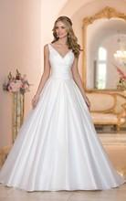 New custom made vestido de noiva princess trailing wedding silks and satins slim V-neck racerback train fluffy wedding dress(China (Mainland))
