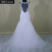 Buy QQ Lover Fashion Lace Mermaid Wedding Dress Sexy Backless Tulle Detachable Train Wedding Gowns Custom Made 2017 Vestido De Noiva for $106.25 in AliExpress store