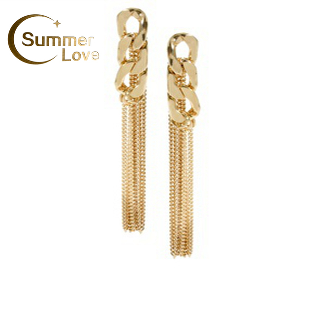 Free Shipping Fashion Jewelry 2014 New Arrival Tassel Chain Earring Gold For Girls Women Jewelry  E261