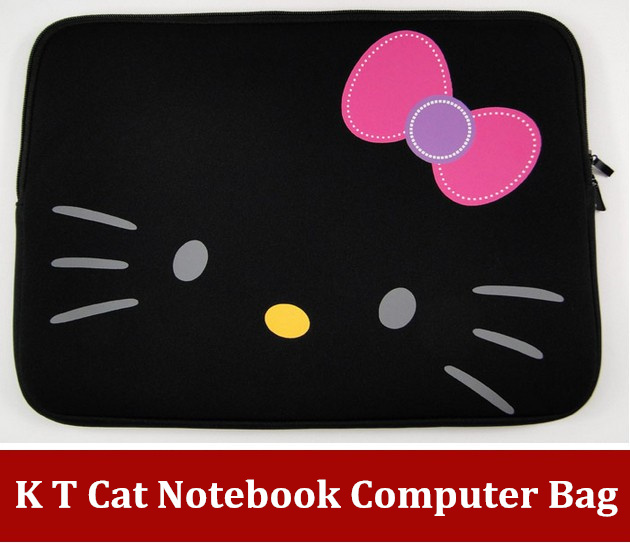 FreeShipping Cute K T Cat laptop sleeve case Cover Bag for 12 13 14 15 inch notebook computer tablet bladder bag(China (Mainland))