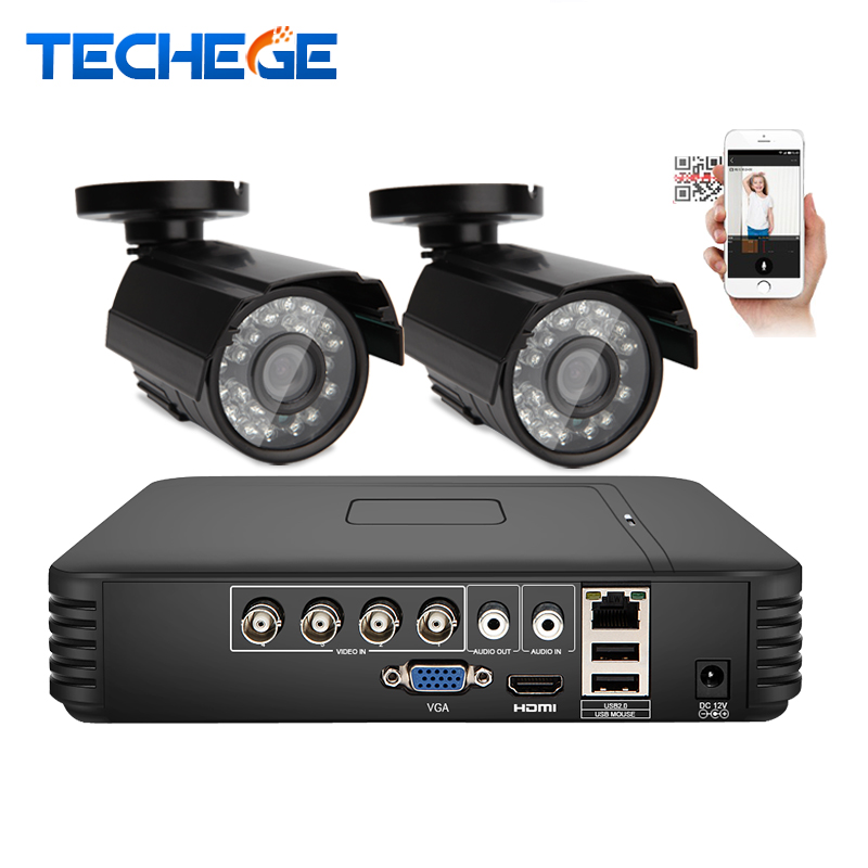 Techege 4CH CCTV System AHD CCTV DVR 2PCS 1.0 MP Outdoor indoor Security Camera 1200 TVL Camera Surveillance System(China (Mainland))