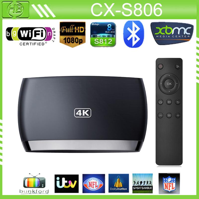 CX-S806 Bluetooth Android Smart TV Box Amlogic S812 Quad Core 2GB/8GB HDMI WiFi H.265/HEVC 1080P XBMC Media Player Miracast Mini(China (Mainland))