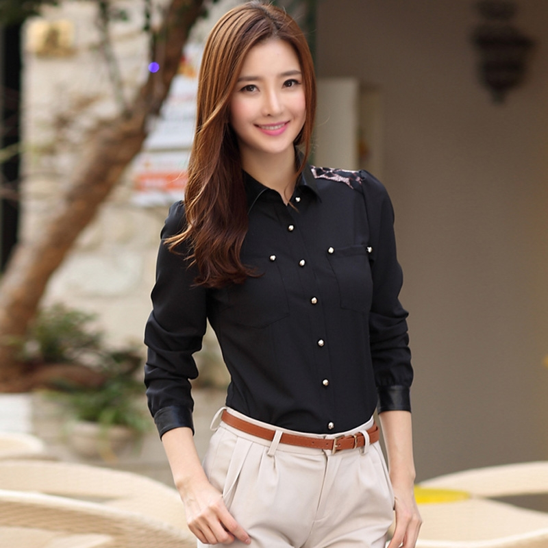 New High-end Professional Women's Blouses Leopard Hit Color Stitching Long-sleeved Chiffon Shirt Female Tops(China (Mainland))