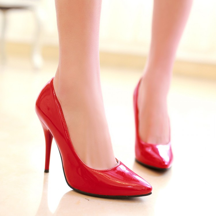 Spring autumn candy color japanned leather thin heels ultra high single shoes pointed toe size customize