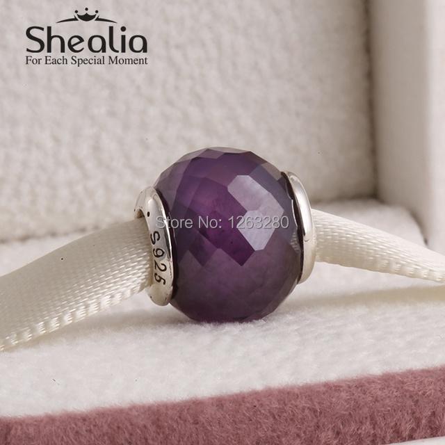 Серебро абстрактный грановитая муранского стекло бусины с фиолетовый cz 925 чистое серебро SHEALIA ювелирные изделия подходит своими руками браслеты BD220