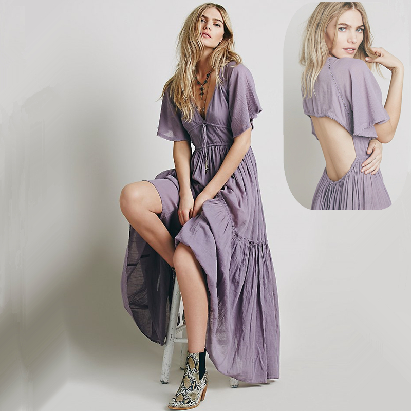 Free Ship Women Backless Full Sexy Long Dresses New Hippie Boho People Solid Color Elegant Beach Swimming Cover Dress for Women(China (Mainland))