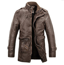 2015 Men's brand PU leather men overcoat winter section of the leather men's fleece liner mens trench coat black Coat Male PY100(China (Mainland))
