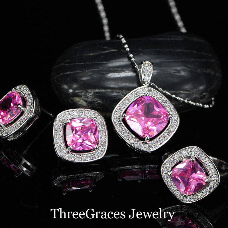 Romantic Pink Rhinestone Crystal Women Jewelry Sets Sterling Silver 925 Pendant Necklace Earrings Sets For Girlfriend Gift JS191(China (Mainland))