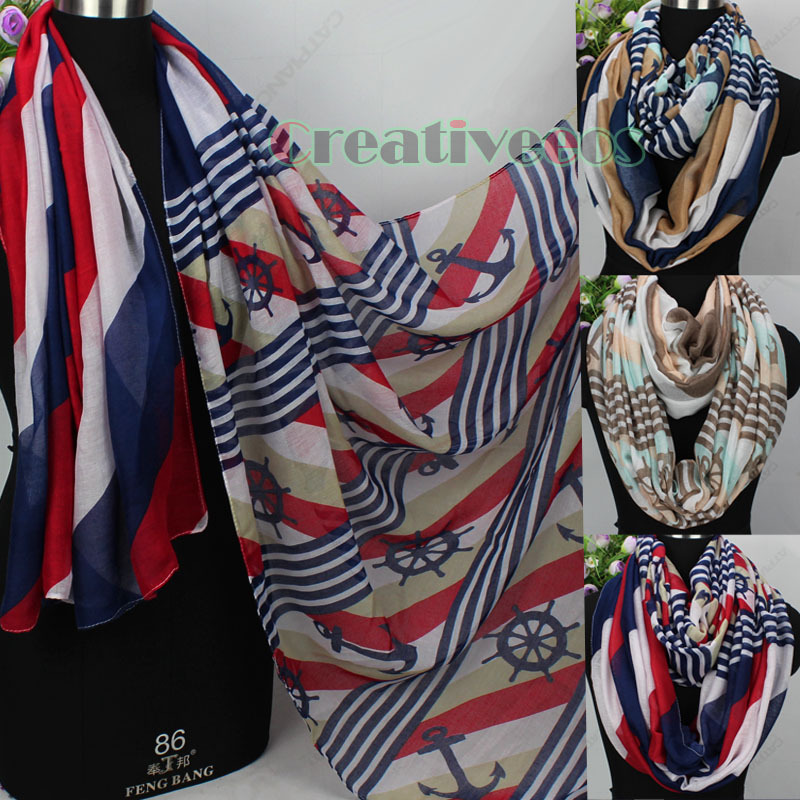 Anchor&Steering Wheel&Stripe Print Long Scarf/Infinity 2-Loop Cowl Eternity Endless Circle Casual Soft Voile Scarf Wrap(China (Mainland))