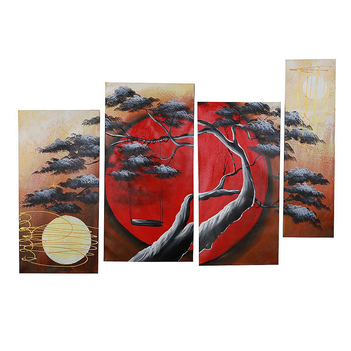 4pcs/set Abstract Red Africa Pine Tree Sun Oil Painting Hand Painted Art Set Modern Wall Stickers For Home Decor No Frames(China (Mainland))