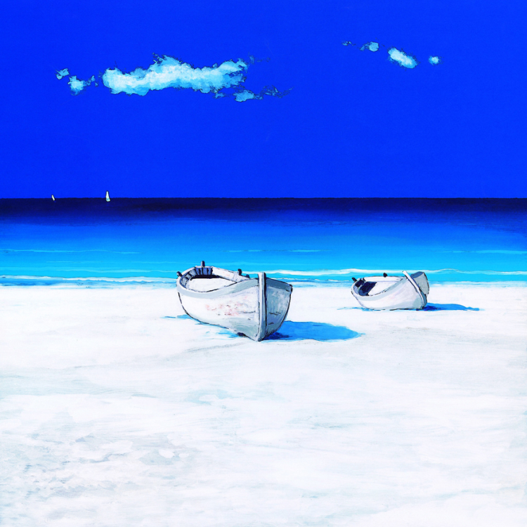 Handpainted Blue Sky Seaside View Oil Painting Abstract Wall Art on Canvas Modern Abstract Art Wall Sticker Pictures Home Decor(China (Mainland))
