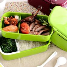 Lunch Time Japan style Double Tier Bento Lunch Box 4 Color Large Meal Box Tableware Microwave Dinnerware Setnew arrival(China (Mainland))