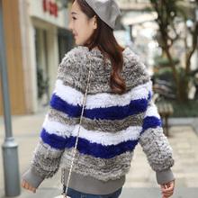 2016 New Arrival  100% Real Rabbit fur knitted Coat   Natural Rabbit Fur Sweatshirt Genuine Fur Jacket  Free Shipping SU-16021(China (Mainland))