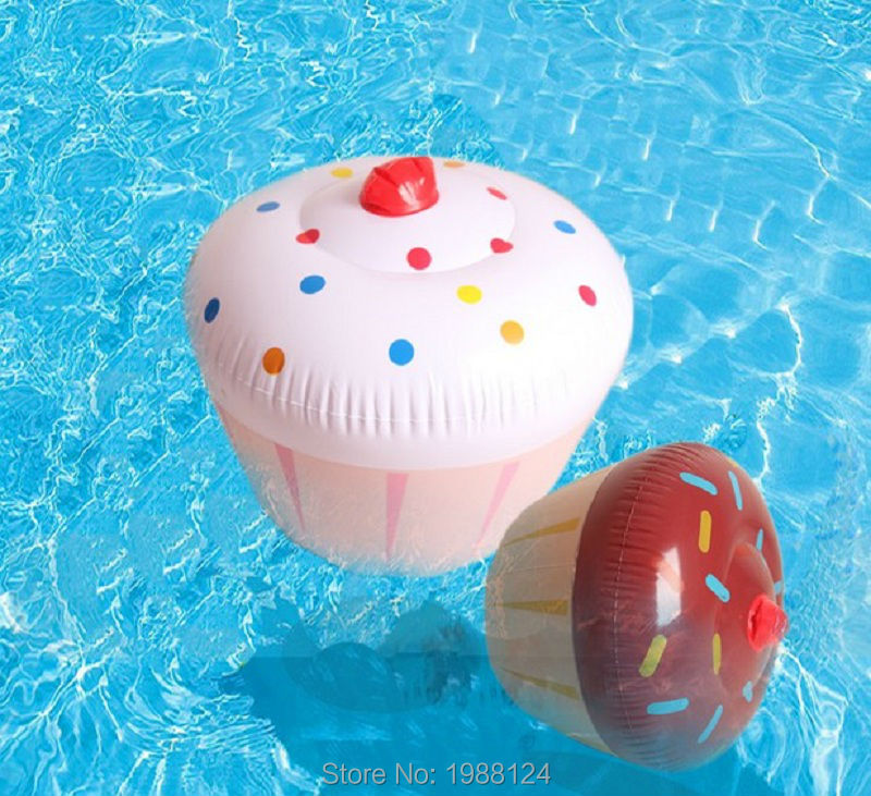 60CM/24inch Large Size Cupcake Inflatable Toys Beach Balls Pool Float Beach Ball Games Water Toy Cupcake Kickboard Water Fun(China (Mainland))