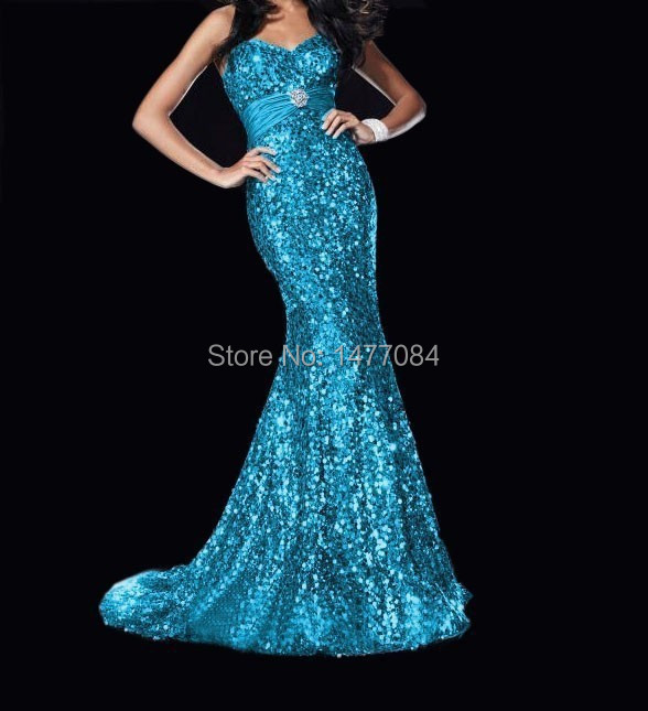 Paillette Party Dresses 2015 Sweetheart Sleeveless Sheath Lace up Floor Length Stock Size(China (Mainland))