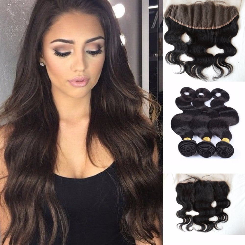 8A 13x4 Lace Frontals Closure With Bundles Russian 3 frontal closure with body wave Lace Frontal With Bundles Free Shipping  <br>