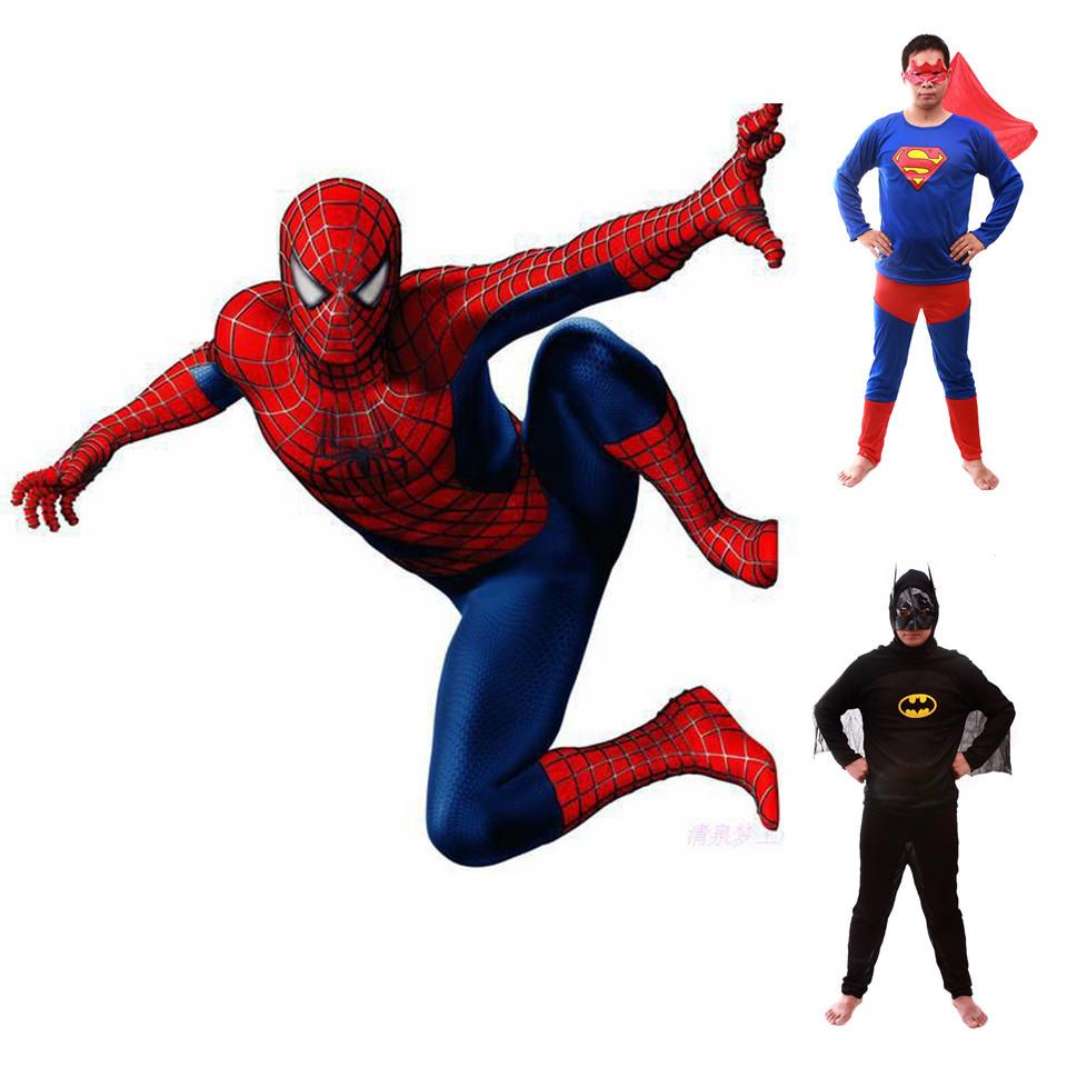 2015 New Hot Sale Adult SpiderMan Superman Batman Costumes Spider man Halloween Costume Spider-man Cosplay Suit Free Shipping(China (Mainland))
