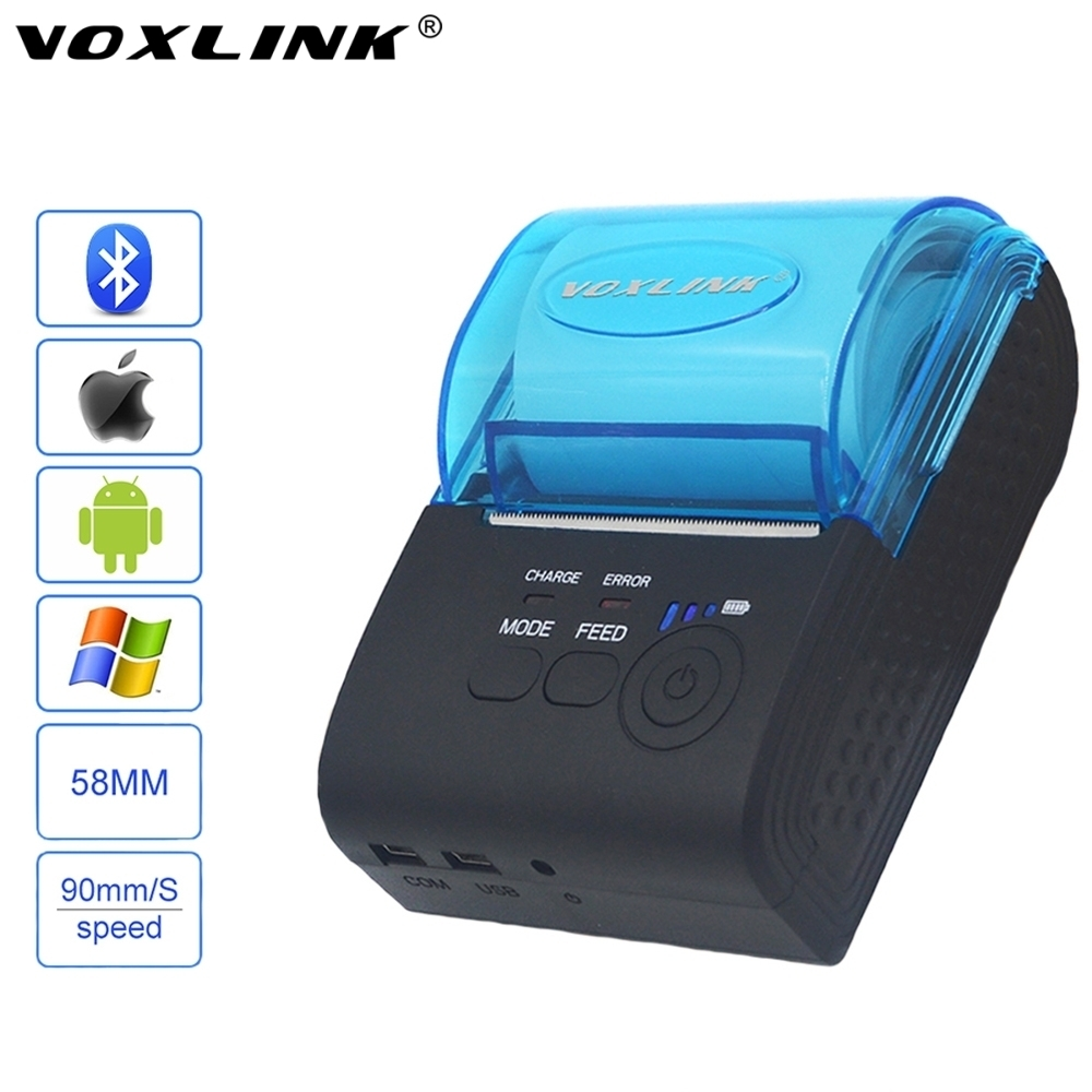VOXLINK RS232/USB Ports 58mm Mini Wireless Bluetooth Thermal Receipt Printer Support ESC/P0S/STAR For IOS/Android Mobile Printer(China (Mainland))