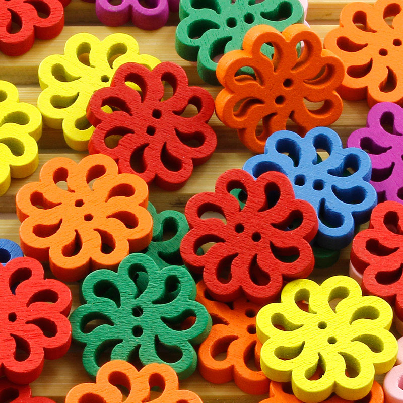 50pcs Mixed Color Flower Cute Wood Buttons 20MM Sewing Useful Craft DIY Decor(China (Mainland))