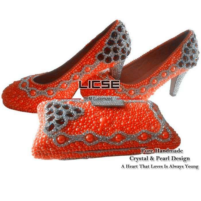 [LICSE] Gold Yellow Rhinestone Pumps Heels Italian Shoes And Bags Set Ab Crystal Orange Bling Pumps Wedding Sliver High Heels(China (Mainland))