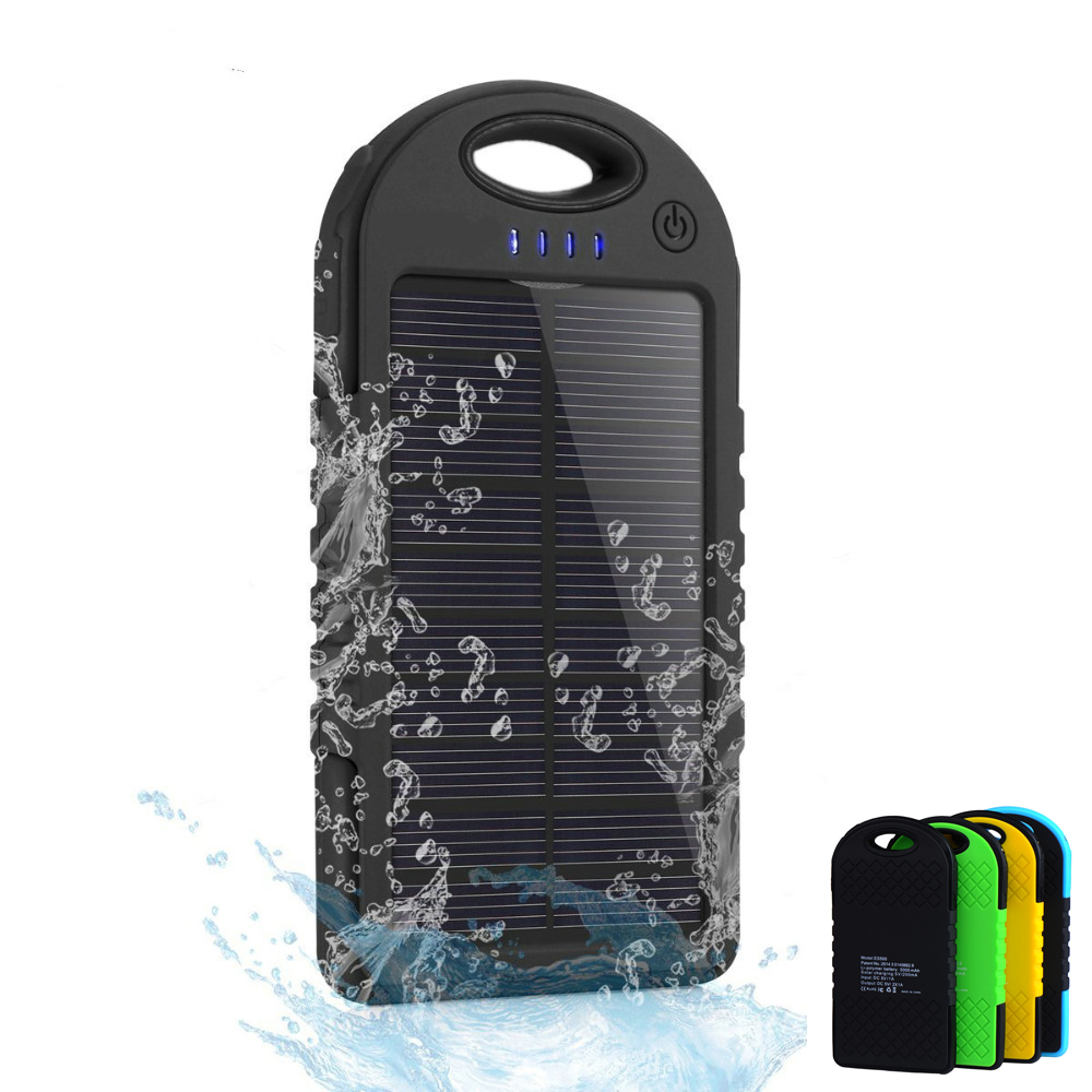 Dual USB 5000mAh Waterproof Solar Power Bank Portable Charger Outdoor Travel Enternal Battery Powerbank for iPhone Android phone(China (Mainland))