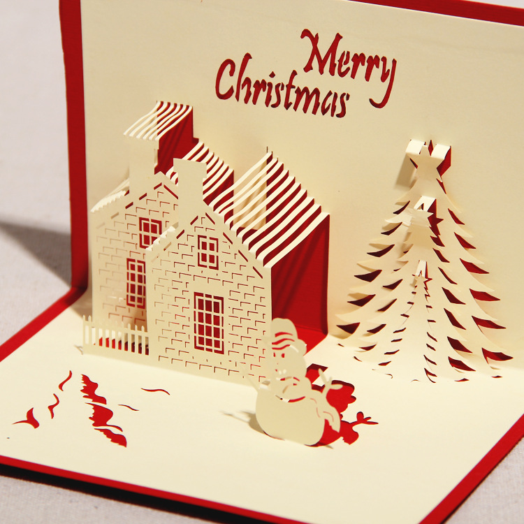 3d greeting card castle in winter handmade paper