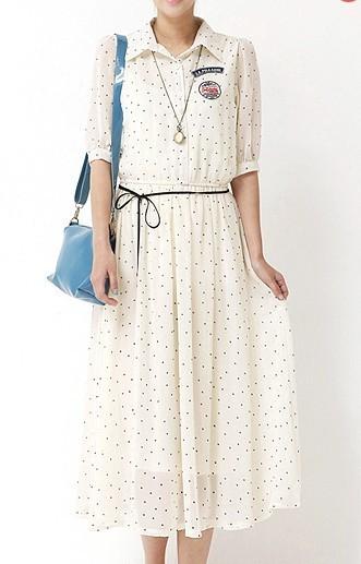 Summer women's 2013 half sleeve shirt dress one-piece dress preppy style vintage full dress chiffon shirt