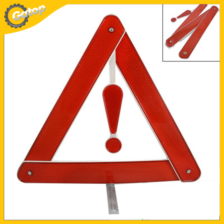 Warning Triangle Emergency Triangle Warning Reflector High Visibility Red Metal Stand Novelty Car Triangle Free Shipping!(China (Mainland))