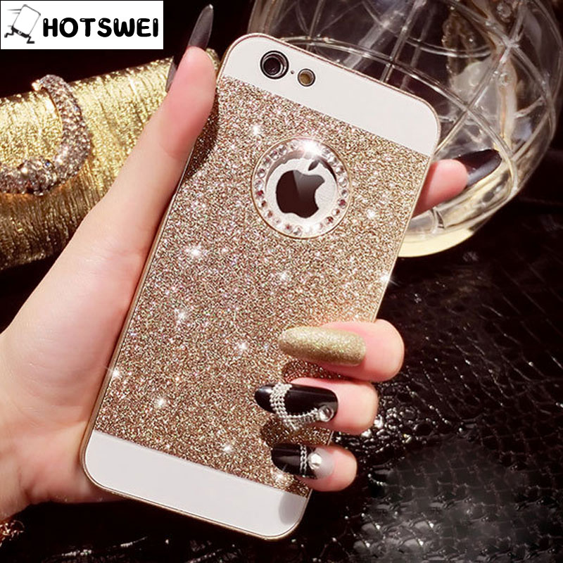 Bling Hard Case iPhone 5s 5 4s 4 Luxury Gold Silver Fashion Glitter Rhinestone Mobile Phone Cover Cases iPhone5 s apple - HOTSWEI Factory Store store
