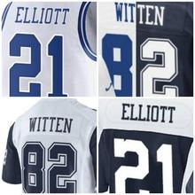 100% stitched Hot Mens 21 Elliott 82 Witten Jerseys Wholesale Black White Blue Gray(China (Mainland))