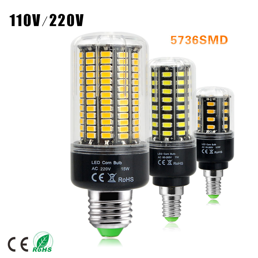 1Pcs High Lumen 5736 SMD E27 E14 3.5W 5W 7W 8W 12W 15W LED Corn Bulb light 85V-265V Constant Current No Flicker 28-156 LEDs lamp(China (Mainland))