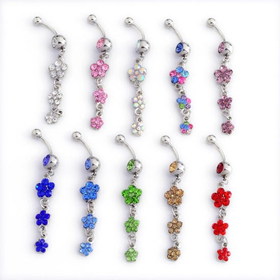10pcs Mix colors Wholesale Surgical Steel Crystal Three Plum Blossom Flowers Dangle Navel Piercing Rings(China (Mainland))
