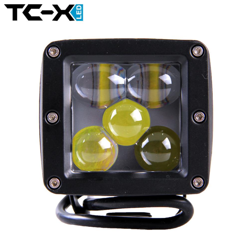 TCX LED 5D 25w LED Spot Lights Square 24v Suv Atv Tractor Motorcycle Offroad Truck Work Light Fog External Lamp Save Spot Light(China (Mainland))