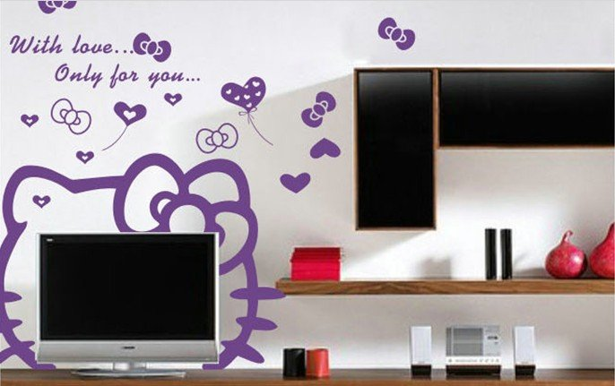 Free shipping custom-made multi colors Cute Hellokitty Wall Paper /stickers Room Furniture TV Decoration(China (Mainland))