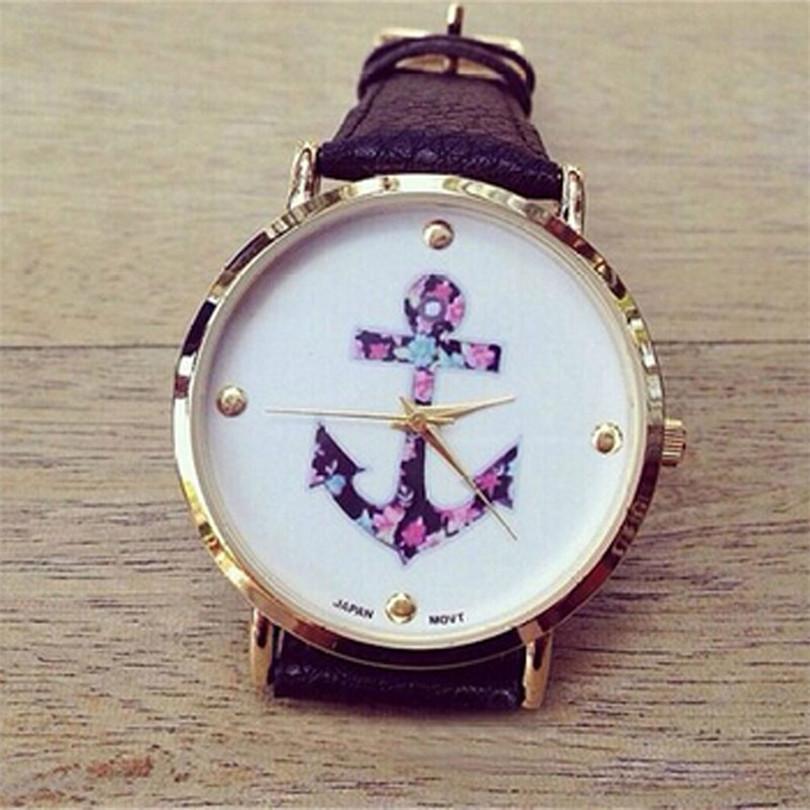 Durable Womens Ladies Vintage Flower Watch Anchor Leather Quartz Watch Black One<br><br>Aliexpress