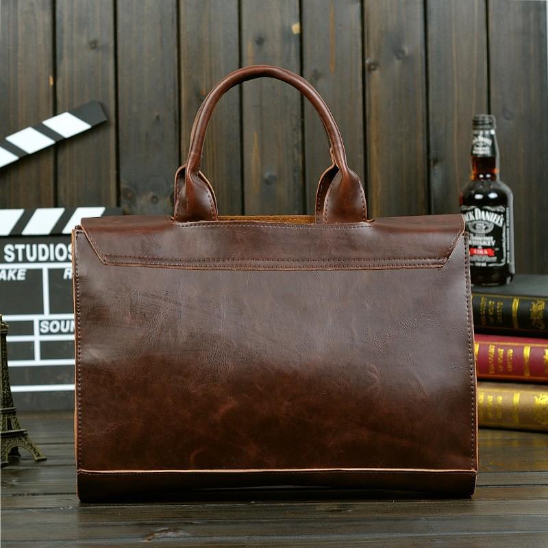 Vintage Men Business Faux PU Leather Briefcase Male Travel Causal Messenger Shoulder Portfolio Laptop Bags Lawer Handbag Bolsa (11)