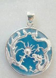 Tibet amulet Blue Dragon jade pendant necklace with chain(China (Mainland))