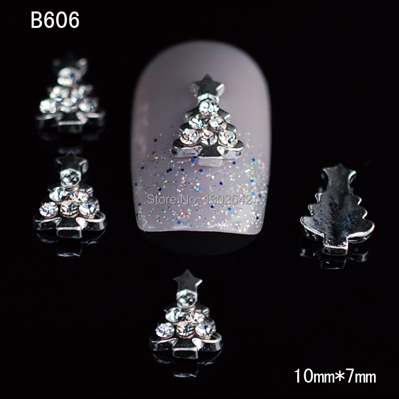 B606 10PCS 3D Xmas Tree DIY Nail Art Decoration Salon Alloy Nail Jewelry China Nail Supply Free Shipping(China (Mainland))