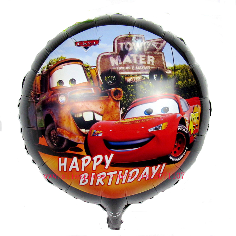 Lucky 10pcs/lot 18inch Round Cartoon Cars Balloons Foil Helium Balloon Baby Shower Toys Birthday Party Decorations Mylar Balloon(China (Mainland))